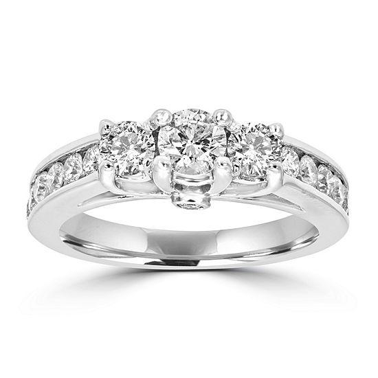 Love Lives Forever Womens 1 1/2 CT. T.W. Genuine White Diamond 14K White Gold 3-Stone Engagement Ring