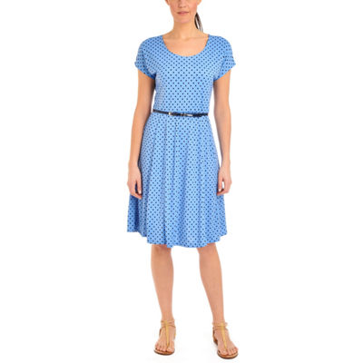 NY Collection Polka Dot Dress with Contrasting Belt - Petites