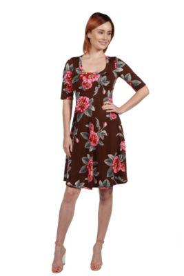 24Seven Comfort Apparel Lorna Green Paisley Dress- Plus