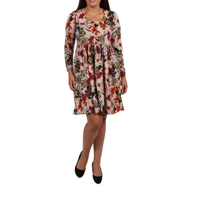 24/7 Comfort Apparel Empire Waist Dress-Plus