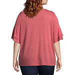 St. John's Bay Short Sleeve Lace Yoke Flutter Sleeve Tee - Plus