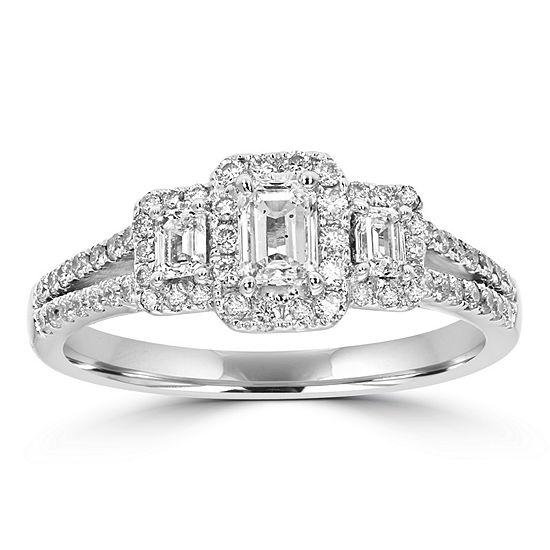 Love Lives Forever Womens 1 CT. T.W. Genuine White Diamond 14K White Gold 3-Stone Engagement Ring