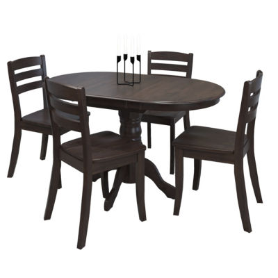 CorLiving Dillon 5pc Extendable Oval Stained Solid Wood Dining Set
