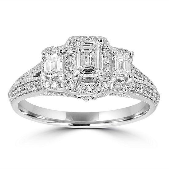 Love Lives Forever Womens 1 1/4 CT. T.W. Genuine White Diamond 14K White Gold 3-Stone Engagement Ring