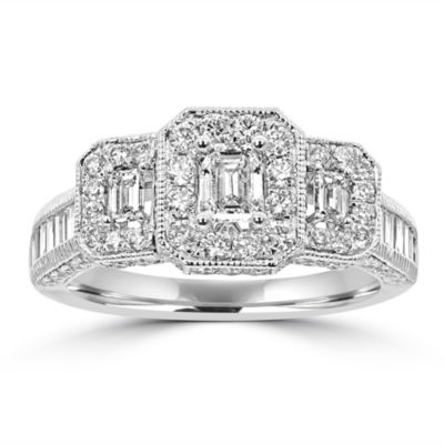 Love Lives Forever Womens 1 3/4 CT. T.W. Genuine White Diamond 14K White Gold 3-Stone Engagement Ring