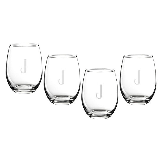 Cathys Concepts 4 Pc Personalized Stemless Wine Glass