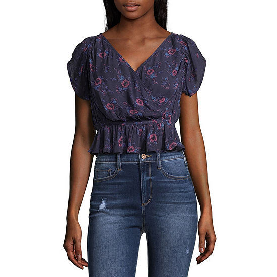 Arizona-Juniors Womens V Neck Short Sleeve Blouse