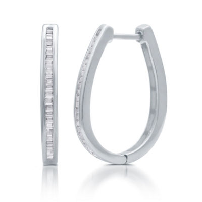 1/2 CT. T.W. Diamond Sterling Silver 24mm Hoop Earrings