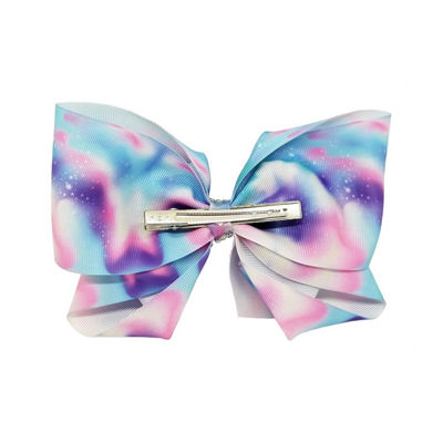 JoJo Siwa Signature Purple And Blue Water Color Bow With Rhinestone Keeper.