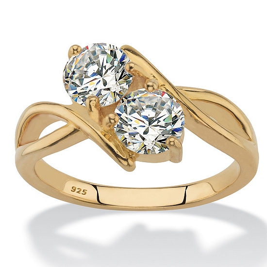 Diamonart Womens 2 CT. T.W. White Cubic Zirconia 14K Gold Over Silver Round Cocktail Ring