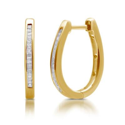 1/4 CT. T.W. Diamond 14K GOLD OVER SILVER 19mm Hoop Earrings