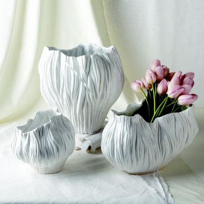 Two's Company Set Of 3 White Vases