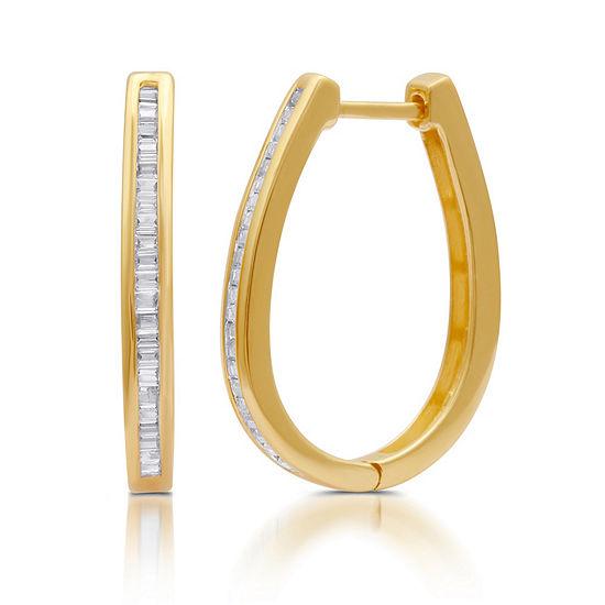 1/2 CT. T.W. Genuine Diamond 14K Gold Over Silver 24mm Hoop Earrings