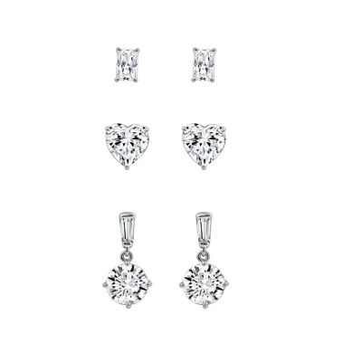 Diamonart White Cubic Zirconia Sterling Silver Earring Set