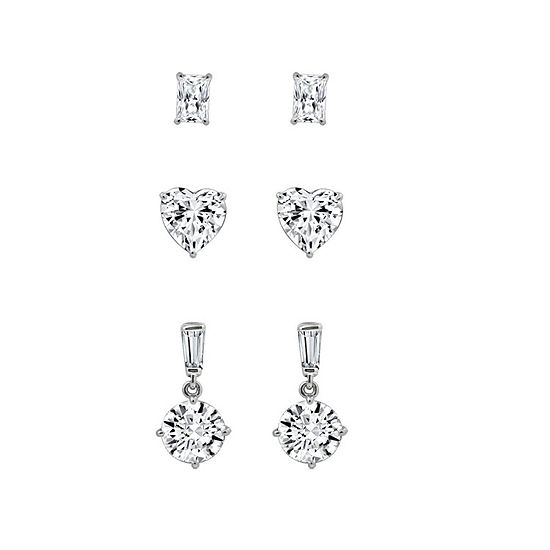 Diamonart White Cubic Zirconia Sterling Silver Earring Set