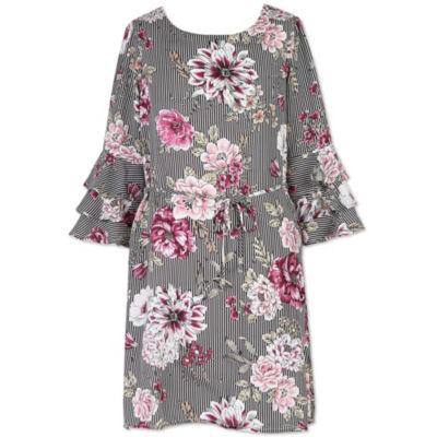Lilt 3/4 Sleeve Floral A-Line Dress - Big Kid Girls