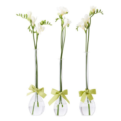 Two's Company Set Of 3 Teardrop Vases With Sage Green Ribbon