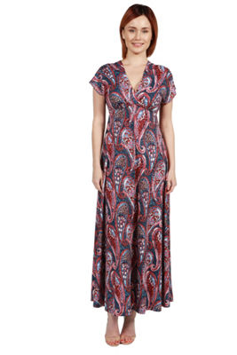 24Seven Comfort Apparel Lena Short Sleeve Green Print Empire Waist Maxi Dress - Plus