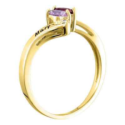 Womens Simulated Multi Color Stone 10K Gold Bypass Ring