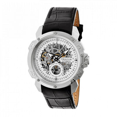 Heritor Automatic Carter Mens Skeleton Dial Leather-Silver Watches