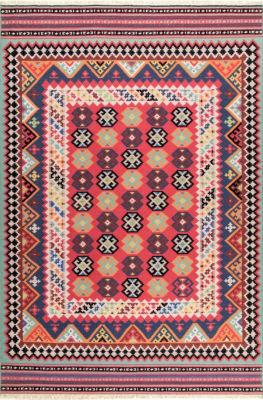 nuLoom Fredricka Tribal Aztec Fringe Wool Flatweave Area Rug