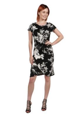 24Seven Comfort Apparel Monica Red and Blue Mini Dress - Plus