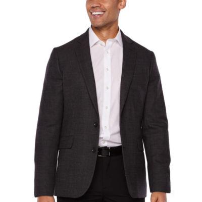 Stafford Merino Wool Stretch Charcoal Dot Slim Fit Sport Coat