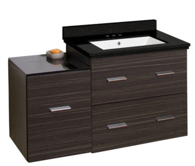 37.75-in. W Wall Mount Dawn Grey Vanity Set For 3H4-in. Drilling Black Galaxy Top White UM Sink
