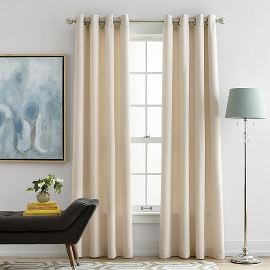 Liz Claiborne Quinn Basketweave Room Darkening Grommet-Top Curtain Panel