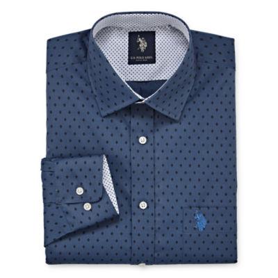 U.S. Polo Assn. Dress Shirt Big And Tall Long Sleeve Geometric Dress Shirt