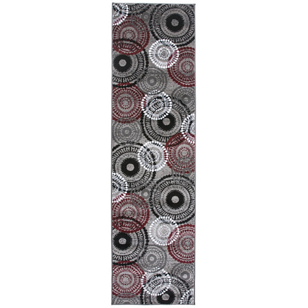 World Rug Gallery Contemporary Circles Runner Rug