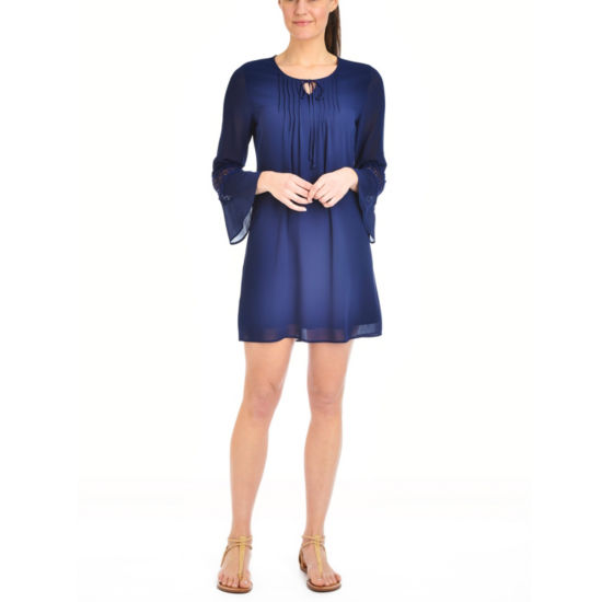 NY Collection Bell Sleeve Peasant Dress with Crochet Trim - Petites