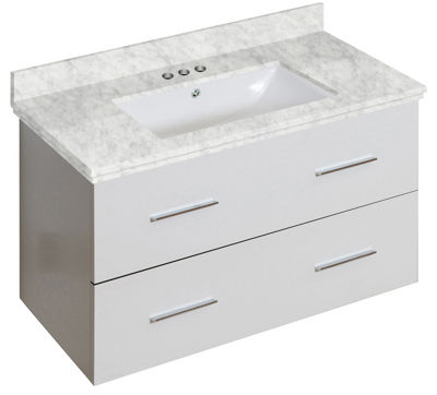36-in. W Wall Mount White Vanity Set For 3H4-in. Drilling Bianca Carara Top White UM Sink