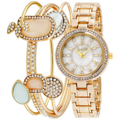 Womens Gold Tone Bracelet Watch-St2817g735-005