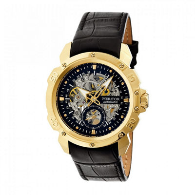 Heritor Automatic Carter Skeleton Dial Leather-Gold/Black Watches