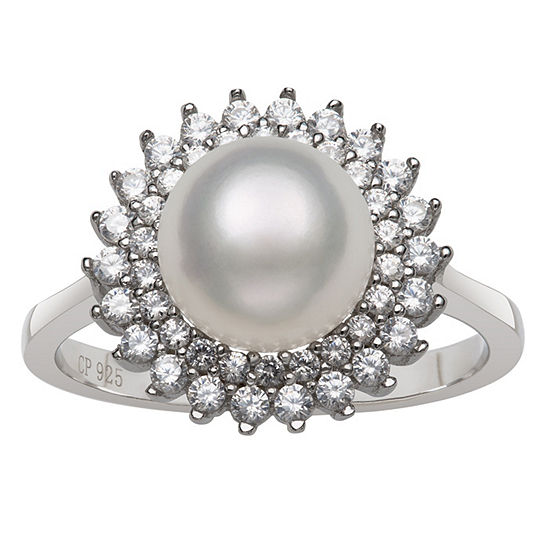 Womens 8MM White Cultured Freshwater Pearl Sterling Silver Cocktail Ring