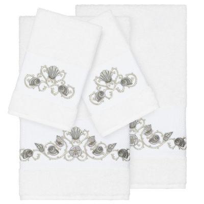 Linum Home Textiles 100% Turkish Cotton Bella 4PC Embellished Towel Set