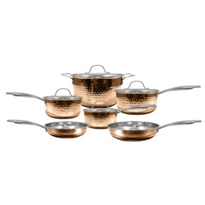 Cooks Club By F And W Santa Fe 10-Pc. Cookware Set 10-pc. Stainless Steel Dishwasher Safe Cookware Set