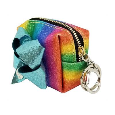 JoJo Siwa Signature Rainbow Shimmer Small Purse With Bow Keychain.