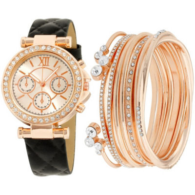 Womens Black Bracelet Watch-St1506rg695-264