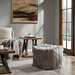 Madison Park Edina Eyelash Faux Fur Pouf