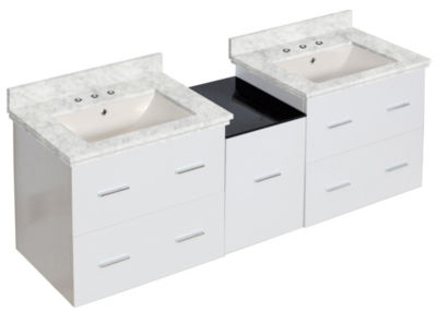 61.5-in. W Wall Mount White Vanity Set For 3H8-in.Drilling Bianca Carara Top Biscuit UM Sink