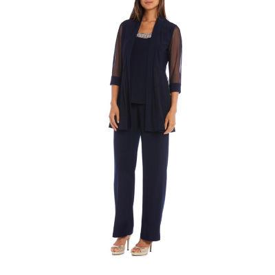 2 Pc Beaded Neckline Pant Suit