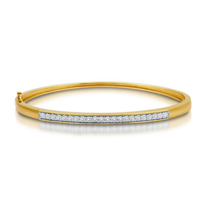 1/10 CT. T.W. Genuine White Diamond 14K Gold Over Silver Bangle Bracelet