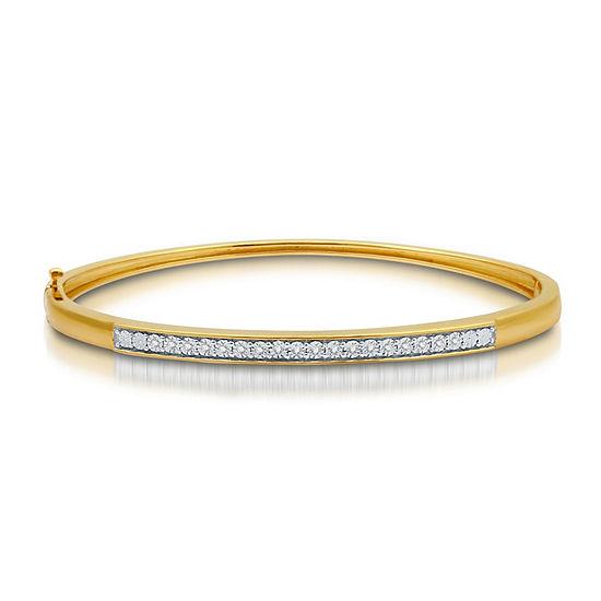 1/10 CT. T.W. Genuine White Diamond 14K Gold Over Silver Bangle Bracelet