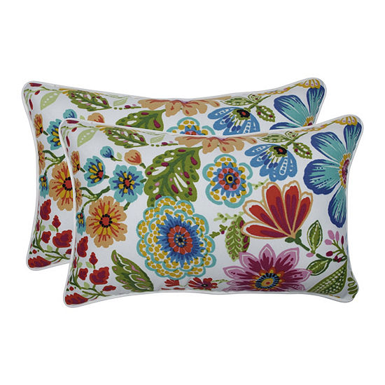 Pillow Perfect Gregoire Prima Set of 2 Rectangular Outdoor Throw Pillows