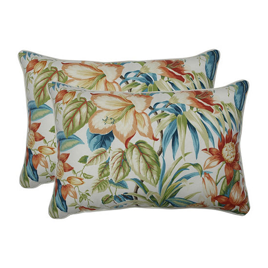 Pillow Perfect Botanical Glow Tiger Lily Set of 2 Oversized Rectangular Outdoor Throw Pillows