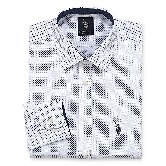 U.S. Polo Assn. Mens Easy Care Spread Collar Big and Tall Dress Shirt