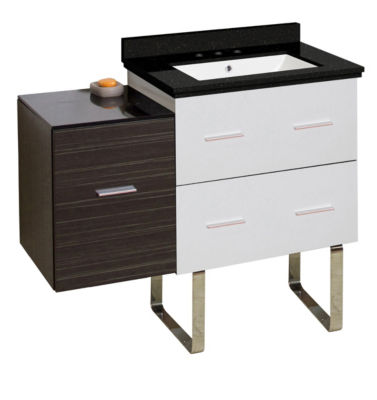 37.75-in. W Floor Mount White-Dawn Grey Vanity SetFor 3H8-in. Drilling Black Galaxy Top White UM Sink