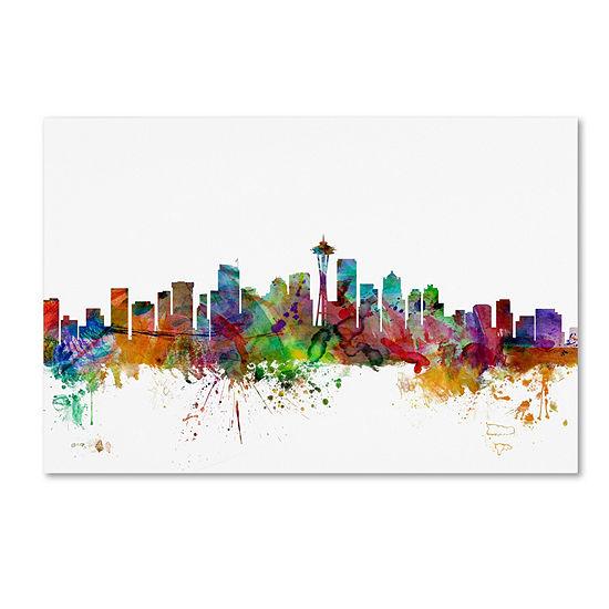 Trademark Fine Art Michael Tompsett Seattle Washington Skyline Giclee Canvas Art